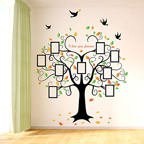 Family Tree Wall Decal - 9 Large Photo Picture Frames - Peel and Stick Wall Decal - Best Removable Wall Decal for Living Room, Bedroom, Kids Rooms, Mural Decor - 80'' Wide x 63'' Tall by GoGoDecal (Image #6)