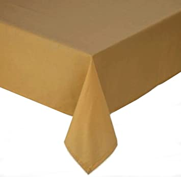 Good Tuscan Solid Laminated Fabric 60 X 120 Inch Wheat Tablecloth