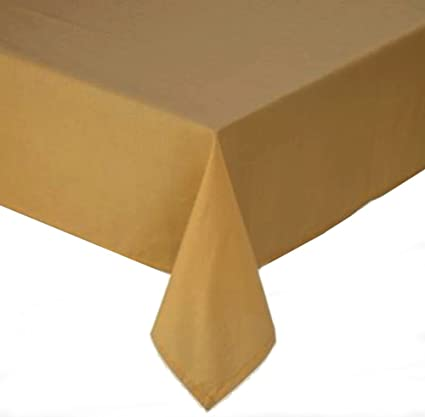 Marvelous Tuscan Solid Laminated Fabric 60 X 120 Inch Wheat Tablecloth