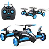 SZJJX Air-Ground Quadcopter RC Drone 6-Axis Gyro Flying Car 2.4Ghz 6CH Land/Sky 2 Modes Helicopter 2 in 1 Toy (Blue)
