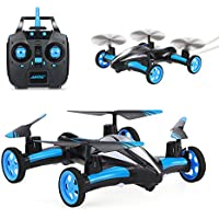 SZJJX RC Flying Car Air-Ground Quadcopter Remote Control Drones 6-Axis Gyro 2.4Ghz 6CH Land/Sky 2 Modes Helicopter Blue
