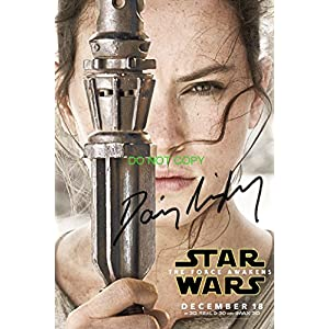 Daisy Ridley as Rey reprint signed autographed 12×18 poster photo #1 Star Wars Force Awakens RP