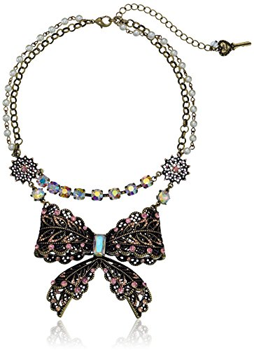 Betsey-Johnson-Womens-Vintage-Bow-Two-Row-Frontal-Necklace-Pink-Multi-Strand-Necklace