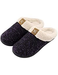 Womens Cozy Memory Foam Slippers Fuzzy Wool-Like Plush Fleece Lined House Shoes w/
