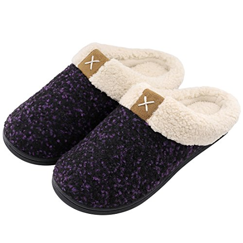 Women's Comfort Memory Foam Slippers Wool-Like Plush Fleece Lined House Shoes w/Indoor, Outdoor Anti-Skid Rubber Sole (Medium / 7-8 B(M) US, Purple)