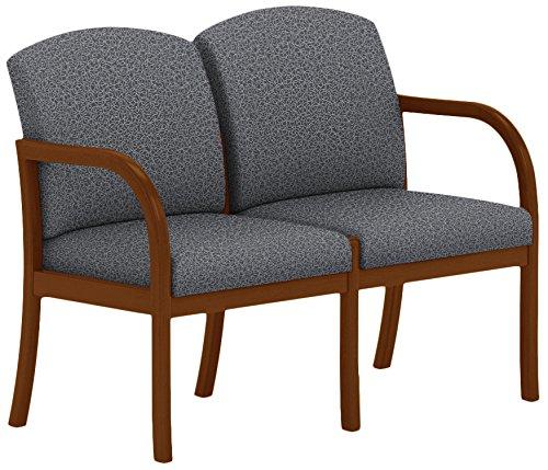 Lesro Weston 2 Seat Sofa in Walnut Finish, Tendril Raven