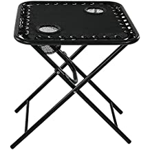 Sunnydaze Outdoor Folding Sling Side Table with Mesh Drink Holders for Camping, Patio, Backyard, Black