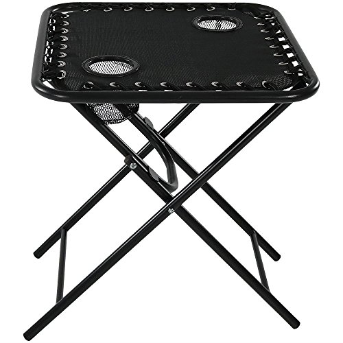 Sunnydaze Folding Sling Side Table with Mesh Drink Holders, Outdoor Patio or Portable Camping Accessory, Black