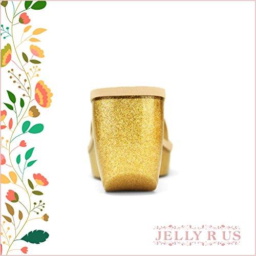 Chemistry® Kay Mujeres Nuevo Estilo Elegante Slip-on Jelly Wedge Plataforma Sandalia Dorado