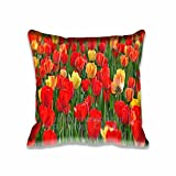 18X18Inch Red and Yellow Tulips Decorative Home Square Throw Pillow Covers