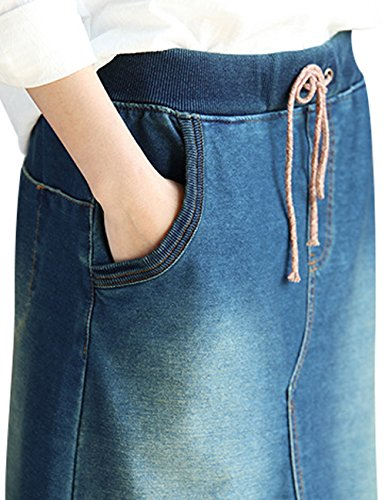 Youlee Mujeres Verano Primavera Cintura Elástica A-line Mezclilla Falda Azul