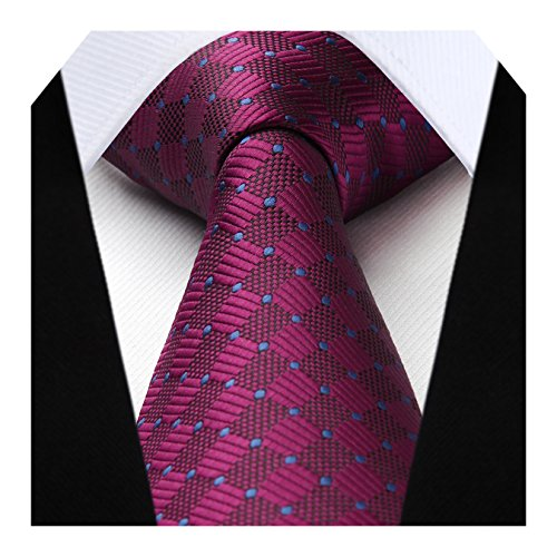 HISDERN Extra Long Check Tie Handkerchief Men's Necktie & Pocket Square Set (Burgundy & Blue)