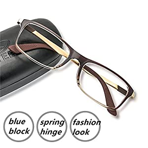 Computer Glasses Blue Blocking Gaming Screen Digital Anti Eye Strain Glare Spring Hinge Goggles for Women Men