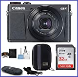 Canon PowerShot G9 X Mark II Digital Camera (Black) Bundle includes: 32GB SDHC Class 10 Memory Card, Card Reader, Camera Case & more…