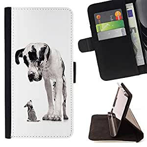 For HTC One M9 Great Dane Chihuahua Black Spots Dogs Leather Foilo Wallet Cover Case with Magnetic Closure