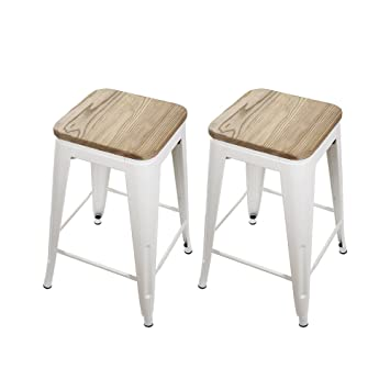 Fantastic Gia 24 Inch Backless Counter Height Stool With Wooden Seat White Light Wood 2 Pack Machost Co Dining Chair Design Ideas Machostcouk
