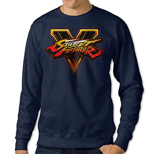 [JXMD Men's Street Fighter V Crewneck Sweater Navy Size L] (Assassins Creed Unity Costume Customization)