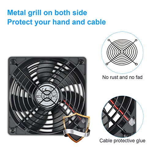 ELUTENG 120mm Fan 2 in 1 Dual USB Fan Computer Cooling Ventilator DC 5V Compatible for Laptop/Playstaion/Xbox One/Mini PC/Router/DVR Radiator Fan by ELUTENG (Image #5)