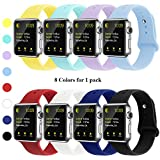 YUNSHU Compatible iWatch Band Replacement iWatch Band 42mm/44mm M/L for Women and Man Soft Sports Band Strap Silicone Series 4 Series 3 Series 2 Series 1-8 Pack
