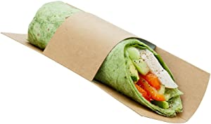 9 x 2 Inch Disposable Wrap Plates, 200 Recyclable Sandwich Wrap Displays - Built-In Band, Serve Snack, Appetizer, Entree, Or Dessert Wraps, Kraft Paper Sandwich Sleeves - Restaurantware