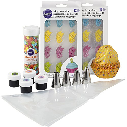Wilton 2109-8431 Butterflies Cupcake Decorating Set Occsns Flwr Bttrfly Cpcks Ppk, (Wilton Pastel)