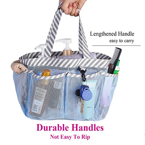 Haundry Mesh Shower Caddy Tote, Portable College Dorm Shower Caddy Bag with 8 Large Pockets for Camping Gym Bathroom