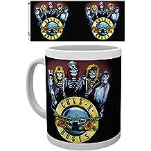 Set: Guns N' Roses, Skeleton Photo Coffee Mug (4x3 inches) And 1x 1art1 Surprise Sticker