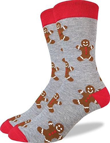 Good Luck Sock Mens Gingerbread Men Christmas Crew Socks - Grey, Adult Shoe Size 7-12