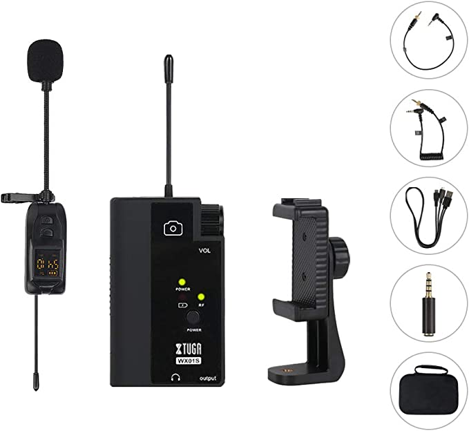 XTUGA WX01/S UHF Wireless Lavalier Microphone System Lapel Mic Compatible With DSLR Cameras, Camcorders, iPhone, Android Smartphones,Tablets,Used for Teaching Tutorials Recording Live (WX01)