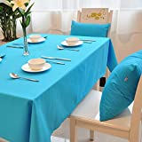 All For You Rectangular Fabric Table Cloth,Rectangle Washable Dinner Picnic Table Cloth,Assorted Colors- SIZE 52 IN X 70 IN (Blue)