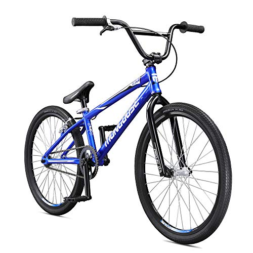 Mongoose Title 24 BMX Race Bike for Beginner or Returning Riders, Featuring Lightweight Tectonic T1 Aluminum Frame and Internal Cable Routing with 24-Inch Wheels, Blue