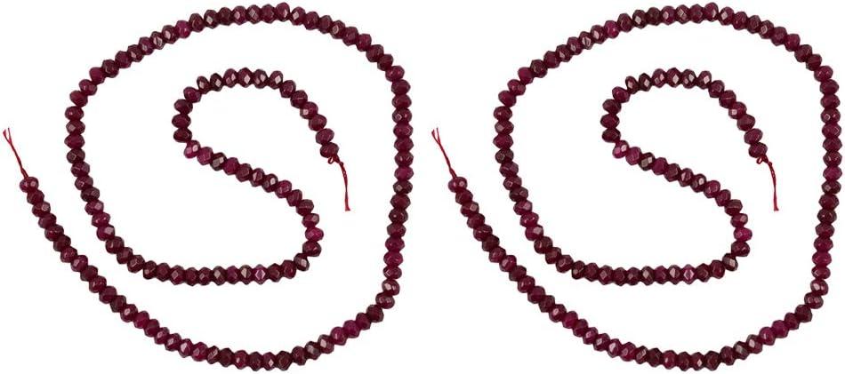 Baoblaze 2X Jade de Rubí Collar de 8mm Piedra Natural de Piedras Preciosas Perlas Pulsera Anillo Bola