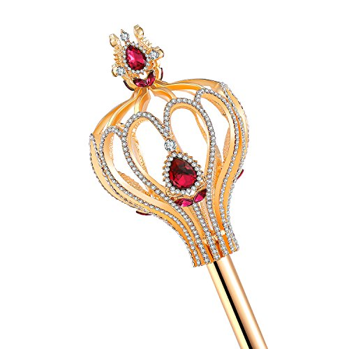 CamingHG Medieval Scepters Wand Gold Silver Magic Wand Pageant Party Costumes (Gold-red)]()