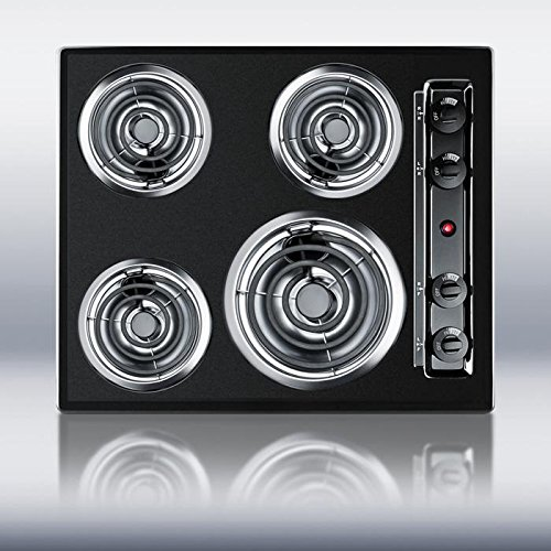 24 Electric Cooktop - Summit TEL03 Kitchen Electric Cooktop, Black