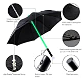 Swecatch LED Lightsaber Umbrella - Light Up Golf Umbrella with 7 Color Changing On the Shaft / Built in Torch at Bottom (Black)