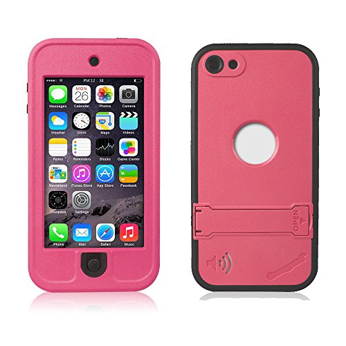 Efanr iPod 5 iPod 6 Case, Waterproof iPod Touch Defender Dustproof Sweatproof Case Cover with Kickstand Touch Screen for Apple iPod Touch 5th & 6th Generation (Rose Red)
