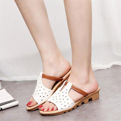 Malloom® Sandalen, Frauen Sommer Kunstleder Sandalen Mode Solid Beach Slides Hausschuhe Damen Schuhe Weiß-3