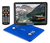 Milanix 15.4' Portable DVD Player, CD Player, Swivel Angle Adjustable Display Screen, USB/SD Card Memory Readers, and Built-in Rechargeable Battery with Remote Control