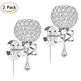 KIVEN Modern Luxury Crystal Wall Light Chrome Finish Wall Sconce with One Cable(Mains Plug and on/Off Switch) Lighting Fixture,Pack of 2 (Silver)