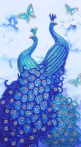 Diamond Painting DIY 5D Special Shape Rhinestones, ABEUTY Blue Double Peacock Animal, Partial Drill Crystal Diamond Art Kits ()