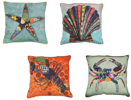 Printed Sea Critters Pop Art Throw Pillows w/ Form, Set of 4 - 20