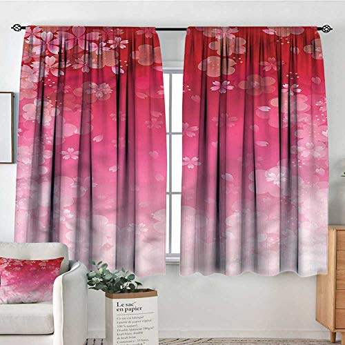 RenteriaDecor Asian,Room Darkening Curtains Cherry Plum Romantic Floral 52