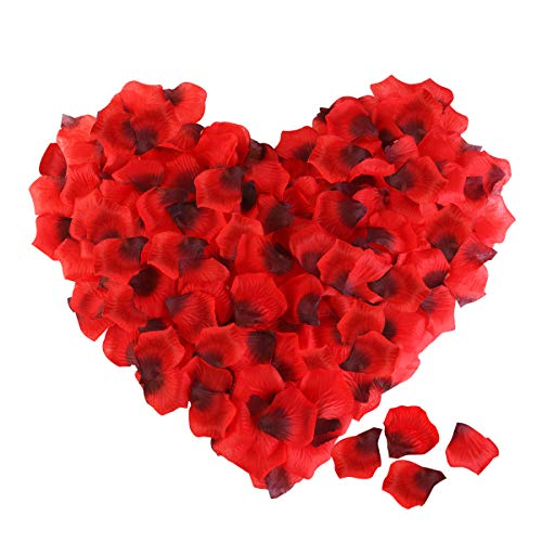 - Rose Petals, ETEREAUTY 3000Pcs Red Silk Petals for Wedding, Romantic Night Party Decoration and Valentine's Day Dark Red