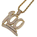 JINAO Hip Hop Iced Out 18K Gold Plated Emoji 100 Pendant Necklace with 24'' Stainless Steel Chain