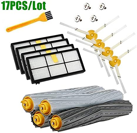 ZINNI-Vacuum Cleaner Parts - Replenishement Kit for iRobot Roomba 805 860 870 871 880 890 960 980 Vacuum Accessories, Parts Extractors Filters Side Brushes (17PCS)