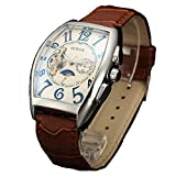 Sewor Luxury Tourbillon Mens Moon Phase Automatic Mechanical Wrist Watch Leather Band Glass Coating Blue (White2)