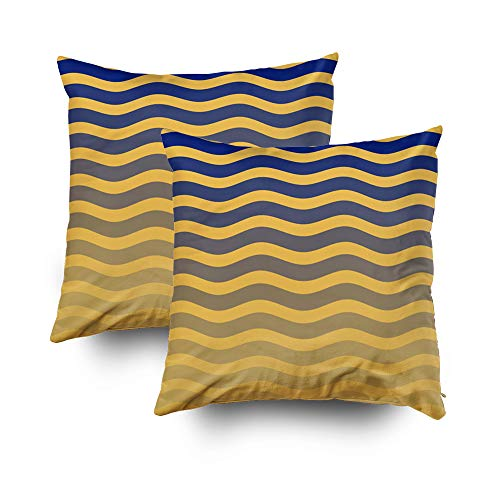(Capsceoll 2PCS Beach colection Yellow Blue Ombre Waves Decorative Throw Pillow Case 16X16Inch,Home Decoration Pillowcase Zippered Pillow Covers Cushion Cover with Words for Book Lover Worm Sofa Couch)