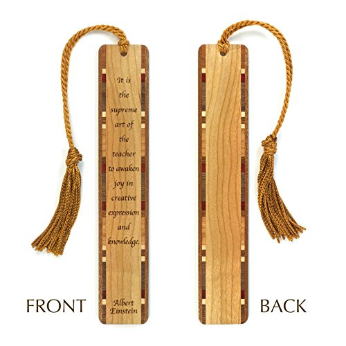 Albert Einstein Quote Engraved Wooden Hand Made Bookmarks with Tassel