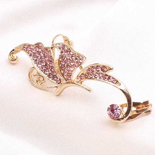 NUWFOR Women's Fashion Cute Jewelry Crystal Butterfly Wings Ear Clip Clamp Earring White(Pink) by NUWFOR (Image #1)