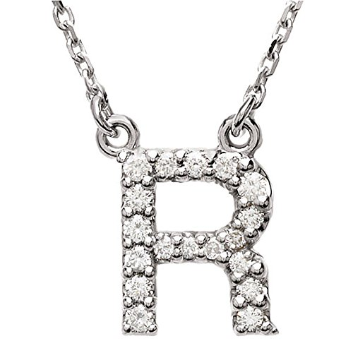 Dazzlingrock Collection 0.12 Carat (ctw) 14K Diamond Uppercase Letter R Initial Pendant (Silver Chain Included), White Gold